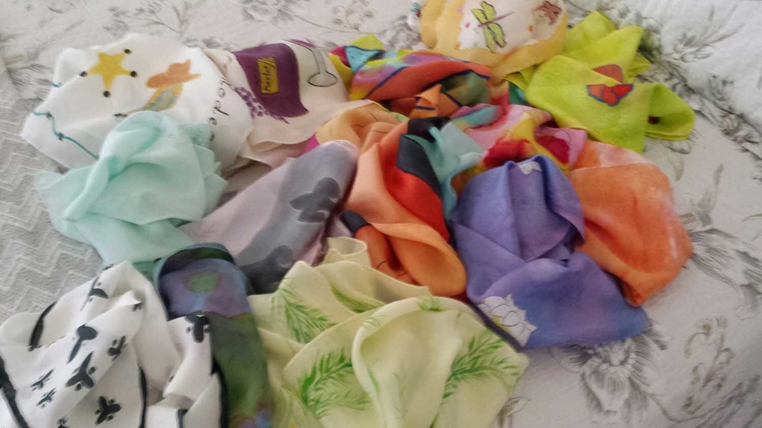 Silk scarves, by Beverly Bannon