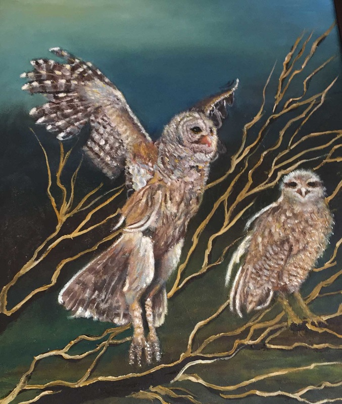 Owls in Flight, by Florence Thibault